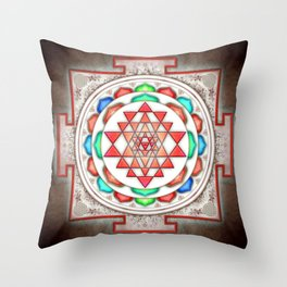 Sri Yantra Colorful Floral I.II Throw Pillow