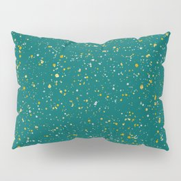 Elegant Confetti Space - Teal Green & Gold,Silver Pillow Sham