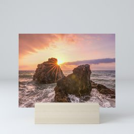 Sunset sea horizon wall art print  Mini Art Print