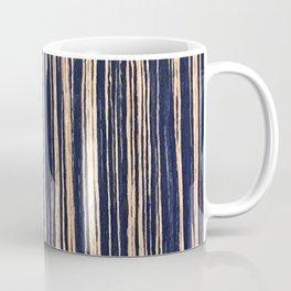 Vertical Scratches on Dark Blue Metal Texture Coffee Mug