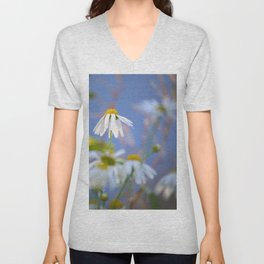 Daisies on a sunny summer day with blue sky Unisex V-Neck