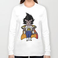 vegeta Long Sleeve T-shirts featuring Cat Vegeta by Ricardo Melara