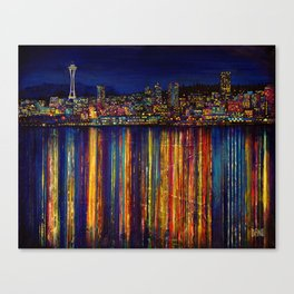 Seattle Night Skyline #2 Canvas Print