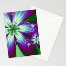 Purple Blue and Green Flowers Stationery Cards