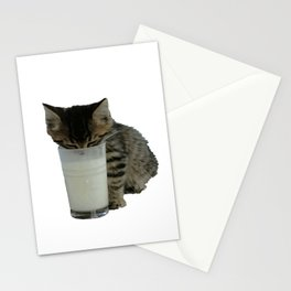 Cute Wild Kitten With A Glass Full of Optimism Stationery Cards