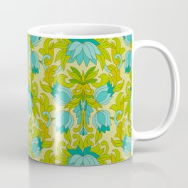 Turquoise and Green Leaves 1960s Retro Vintage Pattern Coffee Mug