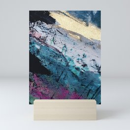 Twilight [2]: a beautiful, abstract watercolor + mixed-media piece in blue, gold, purple, + pink Mini Art Print