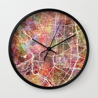real madrid Wall Clocks featuring Madrid by MapMapMaps.Watercolors