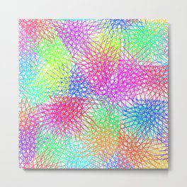 Grid Line Colour Explotion Metal Print