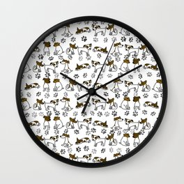 Jack Russell Terrier Dog Cartoon Wall Clock