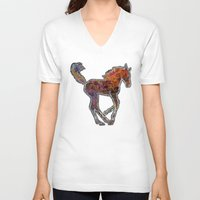 pony V-neck T-shirts featuring Pony by evisionarts