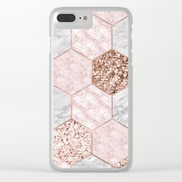 Rose gold dreaming - marble hexagons Clear iPhone Case