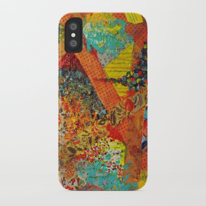 Pieces of Me - Gorgeous Bold Fabric Painting Collage Love Colorful Rainbow Yellow Red Stripes Floral iPhone Case