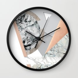 Collage I ( marble and copper ) Wall Clock