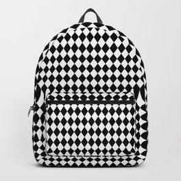 Black and White Harlequin Diamond Check Backpack