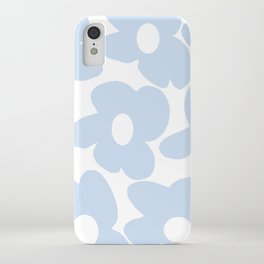 Large Baby Blue Retro Flowers White Background #decor #society6 #buyart iPhone Case