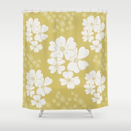 White thoughts on gold Shower Curtain