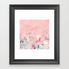 Modern blush watercolor ombre floral watercolor pattern Framed Art Print