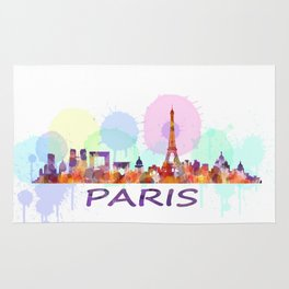Paris City Skyline HQ, Watercolor Rug
