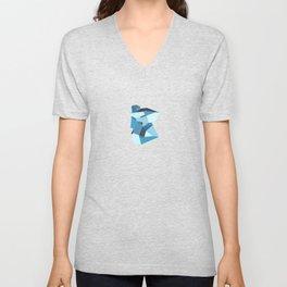 Blue Gemstone Unisex V-Neck