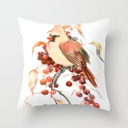Cardinal and Berries Throw Pillow