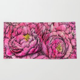 Peonies three pink Beach Towel