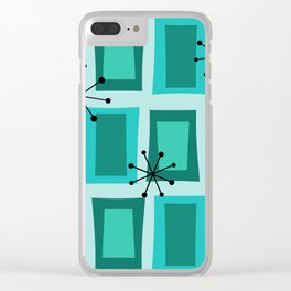 Mid Century Modern Art 'Wonky Doors' Turquoise Teal Clear iPhone Case