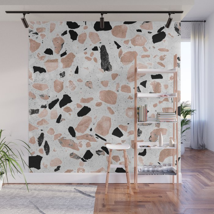 Classy Rose Gold Vintage Marble Abstract Terrazzo Design Wall Mural By Inovarts