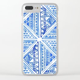 Watercolor Painting Traditional Aztec Inca Style Geometric Pattern Squares Seamless Pattern Clear iPhone Case