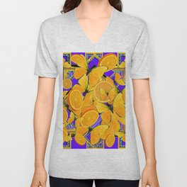 ORANGE SLICES YELLOW BUTTERFLY PURPLE ART Unisex V-Neck