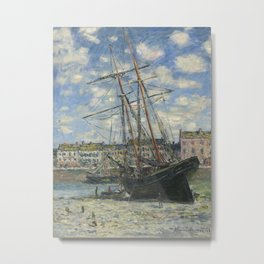 Claude Monet - Boats Lying at Low Tide at Facamp Metal Print