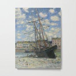 Claude Monet - Boats Lying at Low Tide at Facamp Metal Print