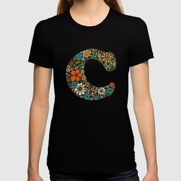 Hippie Floral Letter C T-shirt