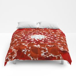Red and White Spiral Fractal Art Low Poly Geometric Triangles Comforters
