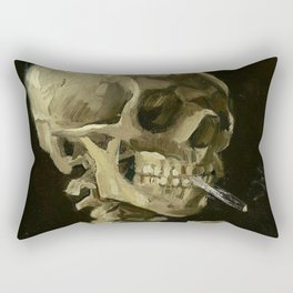SKULL OF A SKELETON WITH BURNING CIGARETTE - VINCENT VAN GOGH Rectangular Pillow