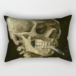 SKULL OF A SKELETON WITH BURNING CIGARETTE - VINCENT VAN GOGH Rectangular Pillow