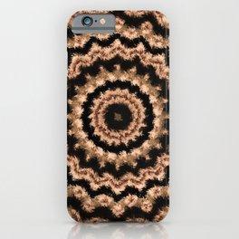 Kaleidoscope Beige Circular Pattern on Black iPhone Case