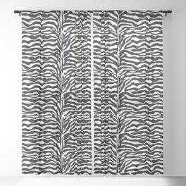 Wild Animal Print, Zebra in Black and White Sheer Curtain