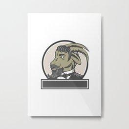 Goat Beard Head Circle Woodcut Metal Print