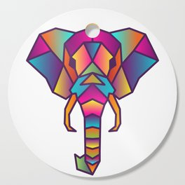 Elephant   Geometric Colorful Low Poly Animal Set Cutting Board