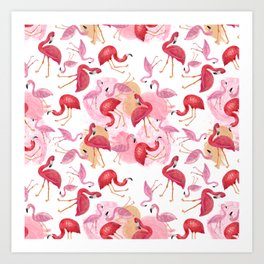 Watercolor Flamingos Art Print