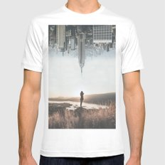 Between Earth & City MEDIUM White Mens Fitted Tee