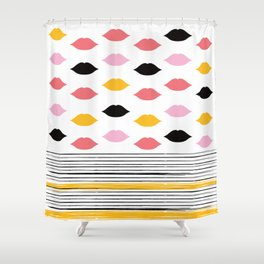 Kisses & Stripes hot summer edition - black, white, gold and pink pattern in vintage Style Shower Curtain