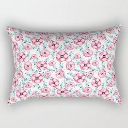 Magenta pink teal aqua watercolor modern floral Rectangular Pillow