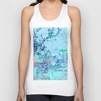 vintage floral Tank Tops featuring Blue Floral Impressions Vintage by Saundra Myles