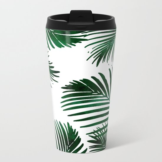 Tropical Palm Leaf Metal Travel Mug