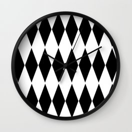 LARGE  WHITE AND BLACK   HARLEQUIN DIAMOND PATTERN Wall Clock