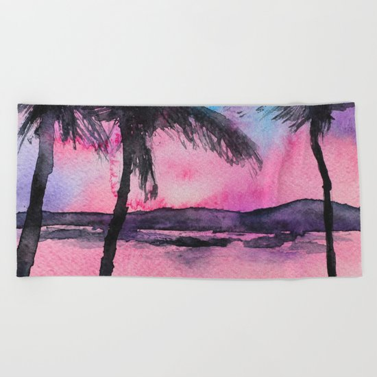 Tropical sunset || watercolor Beach Towel
