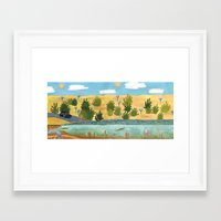 swimming Framed Art Prints featuring Swimming by Bridie Cheeseman