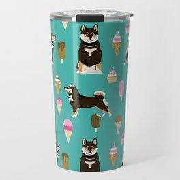shiba inu black and tan ice cream dog breed pet pattern dog mom Travel Mug